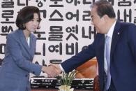 [서울포토] 악수하는 문희상 국회의장과 나경원 원내대…