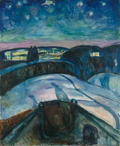 에드바르 뭉크 '별이 빛나는 밤', 1922~1924년 (120.5×100㎝, 뭉크 미술관, 노르웨이 오슬로)