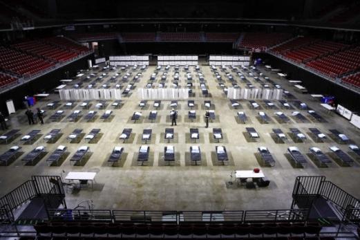 코로나19 임시병원으로 탈바꿈한 미국 경기장