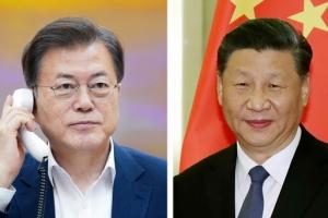 """""""방한 위해 긴밀 소통"""" 문 대통령, 시진핑과 40분간 통화"""