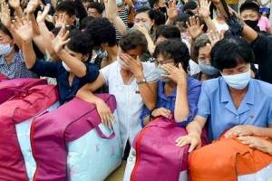 수해 지원 물자 받고 기쁨의 눈물 흘리는 북한 주민들