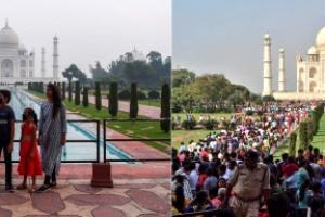 인도 타지마할 반년 만에 재개장, 너무 다른 팬데믹 전후