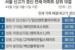 한 달 새 서울 전세 거래 아파트 22% 최고가 경신…도곡 타워팰리스…