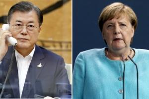 문대통령, 메르켈 총리와 통화…유명희 WTO 후보 지지 요청