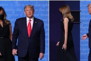 멜라니아 여사, 취재진에 포즈 취한 뒤 트럼프 손 뿌리쳐 '어딜'