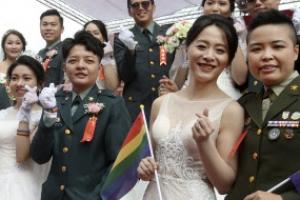 대만 육군 188쌍 합동 결혼식, 레즈비언 커플도 두 쌍이나