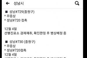 성남 중원구 노인요양병원 관련 사흘새 7명 양성 확진
