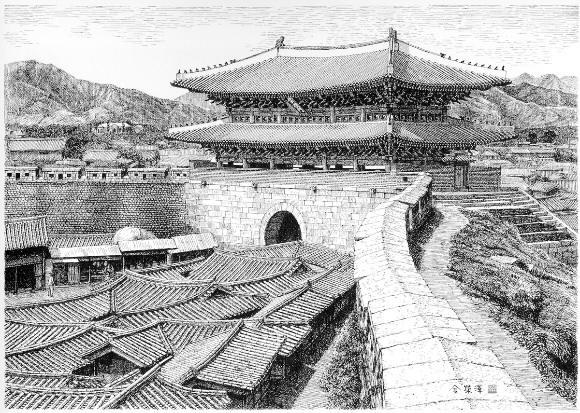 1910년대 숭례문의 전경을 상상해 그린 펜화.