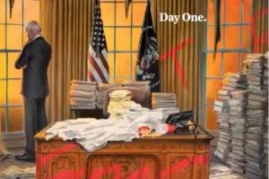 엉망진창 백악관 집무 첫날, 타임 誌 커버 어떻게 생각하세요?