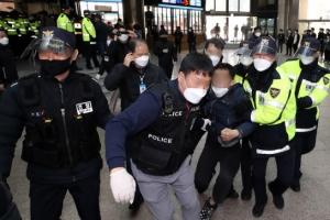 """아시아나 해고노동자, 노동청에서 경찰 연행…""""오세훈표 노동정책…"""