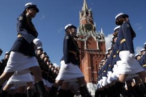'위풍당당' 러시아 여군들의 열병식 리허설