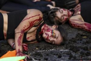 절규하는 콜롬비아학생들의 반정부 시위