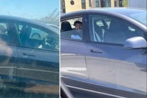 """""""고속도로 차 운전석에 아무도 없다"""" 테슬라 차주 체포"""