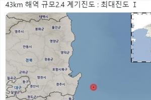 """기상청 """"경북 포항 남구 동남동쪽서 규모 2.4 지진 발생"""""""