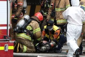 쿠팡물류센터 화재 진압중 쓰러진 소방관