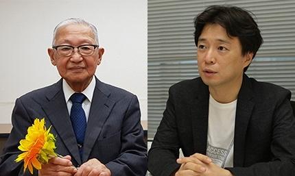 제1회 인터넷평화상 수상자인 일본 시민인권단체 가와사키 시민네트워크 회장 세키타 히로오(왼쪽)과 인터넷 윤리교육자인 오기소 캔. 선플운동본부 제공