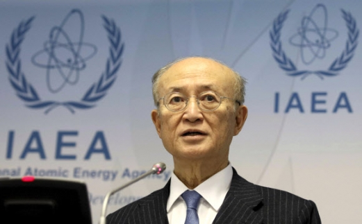 FILE - In this Nov. 22, 2018, FILE - In this Nov. 22, 2018, file photo, International Atomic Energy Agency (IAEA) Director General Yukiya Amano of Japan addresses the media during a news conference after a meeting of the IAEA board of governors at the International Center in Vienna, Austria. The IAEA said Monday, July 22, 2019, it is announcing with regret the death of Amano. The Secretariat did not say how Amano, who was 72, died.  (AP Photo/Ronald Zak)