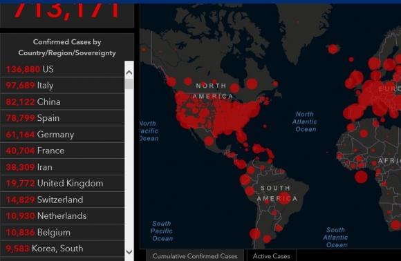 미국 존스홉킨스 대학 집계 사이트 캡처
