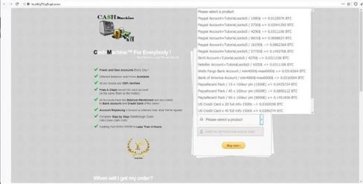 특 정 프로그램을 통해서만 접속할 수 있는 '다크웹'을 통해 인터넷 암시장에서 거래되고 있는 카드  정보들. 매매는 암호화폐인 비트코인(BTS)을 통해서만 가능하다.
