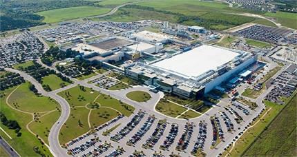 텍사스 오스틴에있는 삼성 전자 반도체 생산 공장 전경.